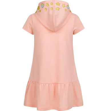 Endo - Sukienka z krótkim rękawem i z kapturem dla dziewczynki, luźny krój, pomarańczowa, 2-8 lat D03T008_1,2
