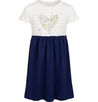 Dzersejowa sukienka z krótkim rękawem, jasna góra z sercem, granatowy dół, 9-13 lat D05H013_1