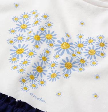 Endo - Dzersejowa sukienka z krótkim rękawem, jasna góra z sercem, granatowy dół, 9-13 lat D05H013_1 2