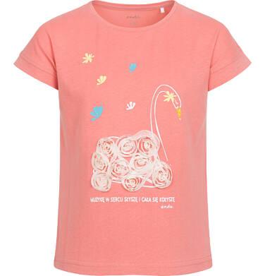 Endo - Bluzka z krótkim rękawem dla dziewczynki, z łabędziem, różowy, 2-8 lat D05G071_1 8