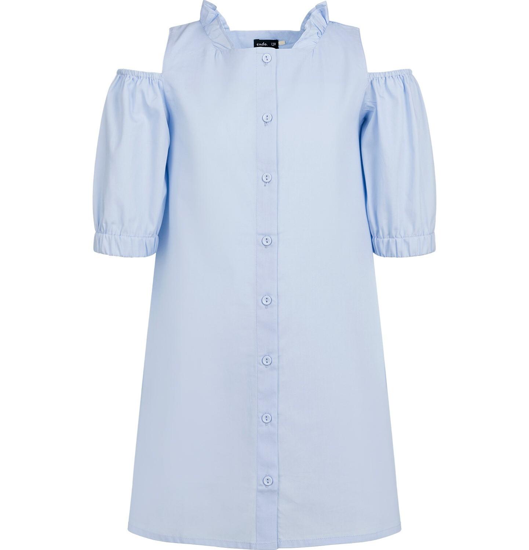 Endo - Koszulowa sukienka z odłoniętymi ramionami, niebieska, 9-13 lat D03H522_1