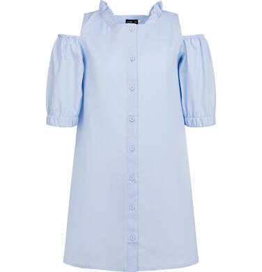 Endo - Koszulowa sukienka z odłoniętymi ramionami, niebieska, 9-13 lat D03H522_1 14