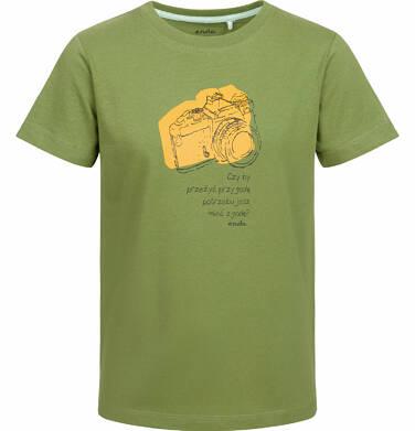 T-shirt z krótkim rękawem dla chłopca, z aparatem fotograficznym, oliwkowy, 9-13 lat C03G542_1