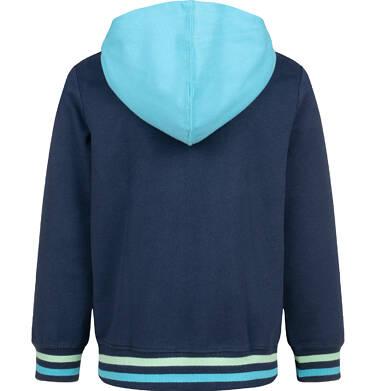 Endo - Rozpinana bluza z kontrastowym kapturem dla chłopca, granatowa, 2-8 lat C03C022_1 6