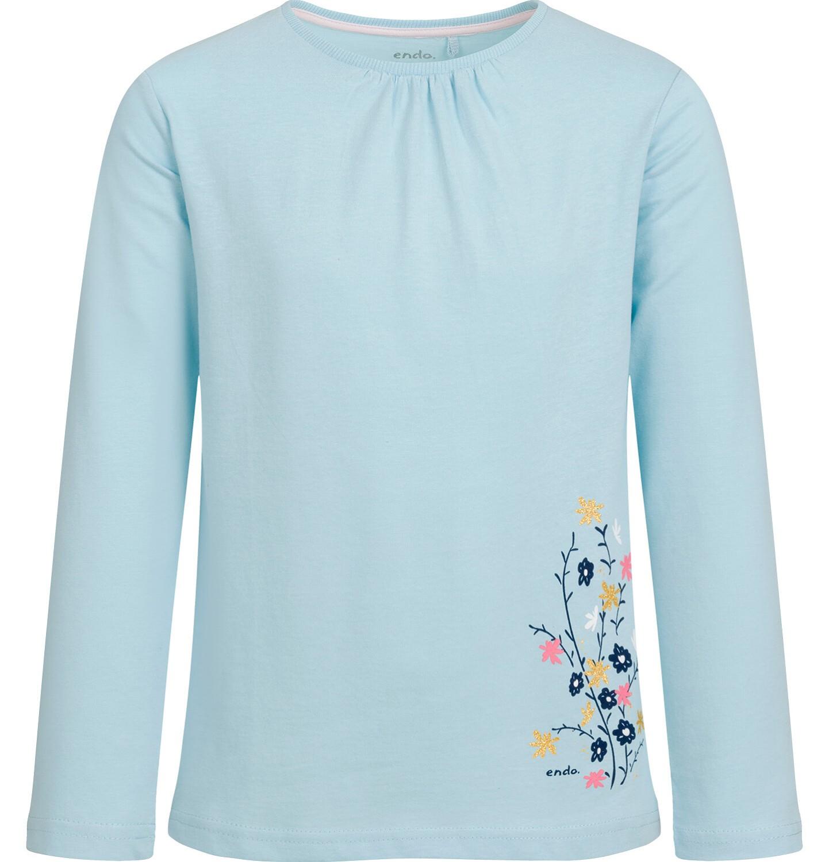 Endo - Bluzka z długim rękawem dla dziewczynki, z kwiatowym nadrukiem, błękitna, 2-8 lat D03G202_1