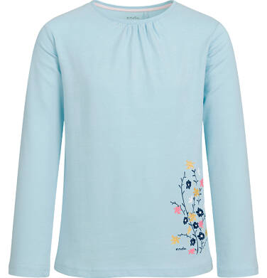 Endo - Bluzka z długim rękawem dla dziewczynki, z kwiatowym nadrukiem, błękitna, 2-8 lat D03G202_1 11