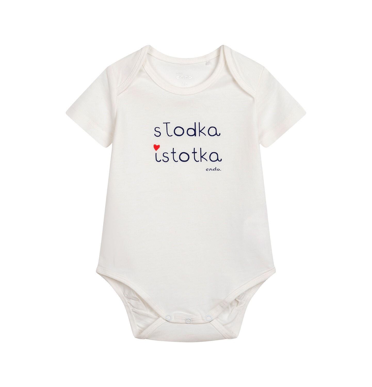 Endo - Body z krótkim rękawem dla dziecka do 2 lat, z napisem, kremowe N05M051_1