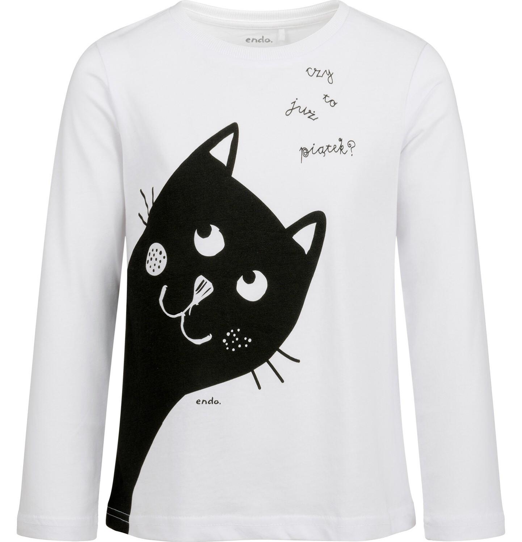 Endo - Bluzka z długim rękawem dla dziewczynki, z kotem, biała, 2-8 lat D03G204_1