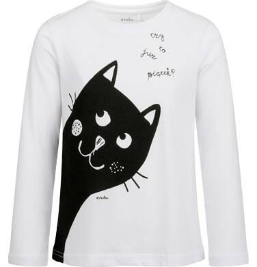 Endo - Bluzka z długim rękawem dla dziewczynki, z kotem, biała, 2-8 lat D03G204_1 211