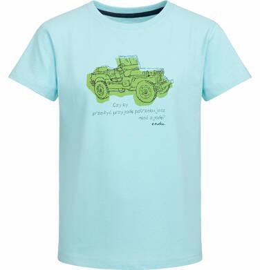 Endo - T-shirt z krótkim rękawem dla chłopca, z samochodem, turkusowy, 9-13 lat C03G543_1