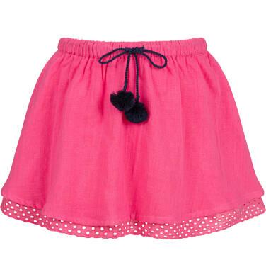 Endo - Krótka spódnica z pomponami na troczkach, różowa, 2-8 lat D03J014_1