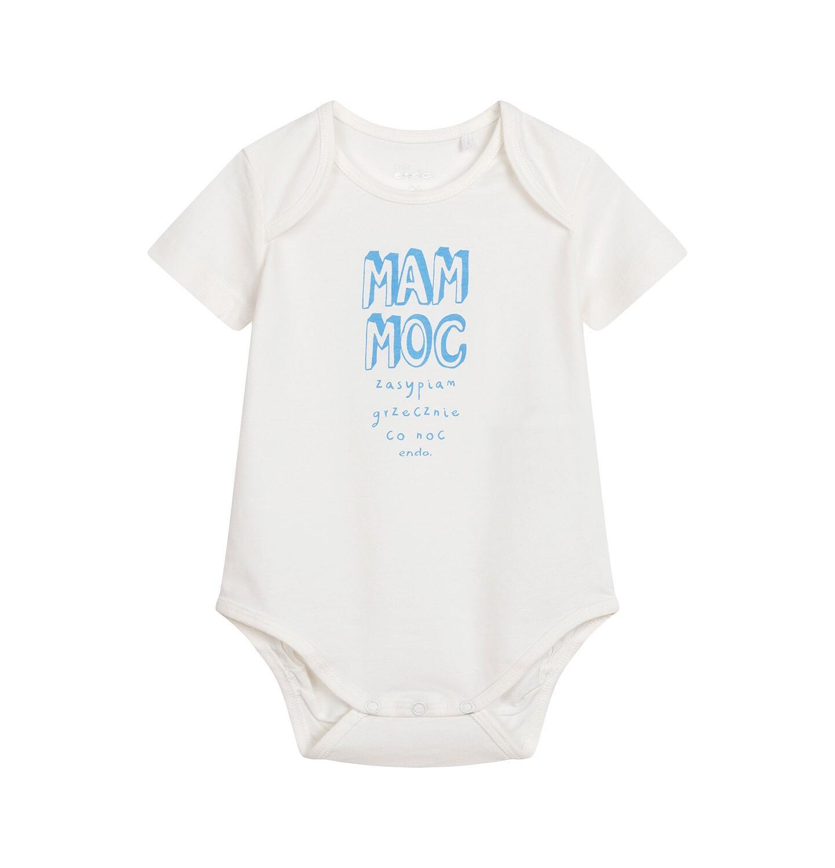 Endo - Body z krótkim rękawem dla dziecka do 2 lat, z napisem, kremowe N05M053_1