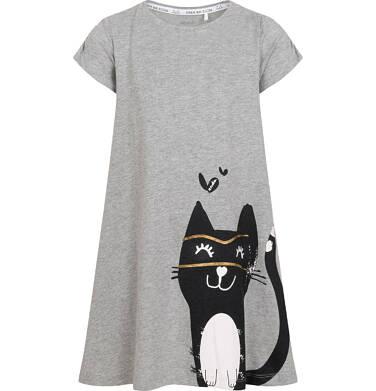 Endo - Dżersejowa sukienka z krótkim rękawem dla dziewczynki, z dużym kotem, szara, 9-13 lat D05H027_1 20