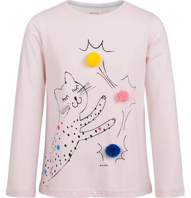 Endo - Bluzka z długim rękawem dla dziewczynki, z kotem i aplikacjami 3D, różowa, 2-8 lat D03G207_1 186