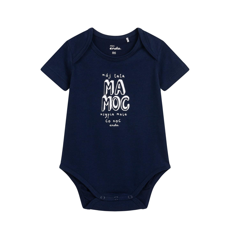 Endo - Body z krótkim rękawem dla dziecka do 2 lat, z napisem, granatowe N05M054_1
