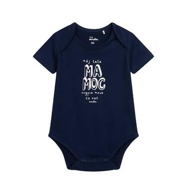 Endo - Body z krótkim rękawem dla dziecka do 2 lat, z napisem, granatowe N05M054_1,1