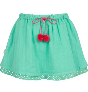 Endo - Krótka spódnica z pomponami na troczkach, zielona, 2-8 lat D03J014_2
