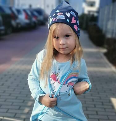 Endo - Bluzka z długim rękawem dla dziewczynki, z tęczowym jednorożcem, błękitna, 2-8 lat D03G208_1 159