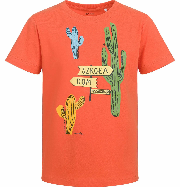 Endo - T-shirt z krótkim rękawem dla chłopca, z kaktusem, pomarańczowy, 2-8 lat C03G045_1