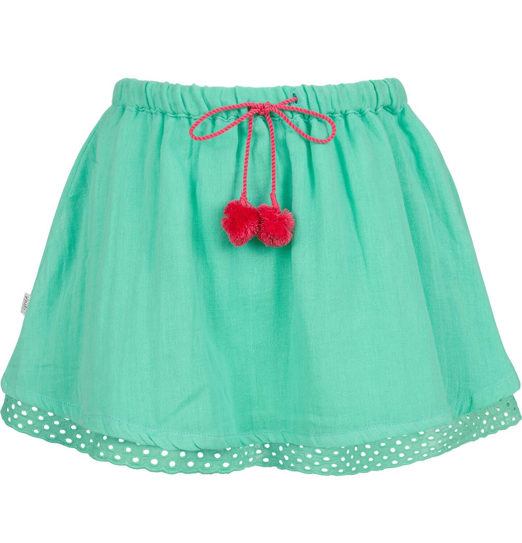 Endo - Krótka spódnica z pomponami na troczkach, zielona, 9-13 lat D03J514_2