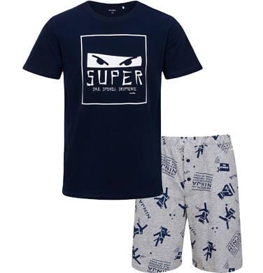 Endo - Męska piżama z krótkim rękawem, motyw ninja, granatowa Q05V009_1 8