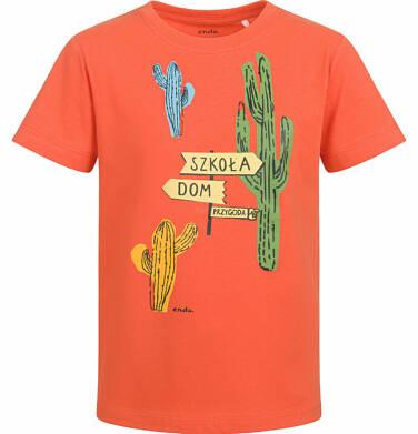 Endo - T-shirt z krótkim rękawem dla chłopca, z kaktusem, pomarańczowy, 9-13 lat C03G545_1