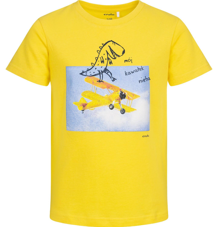 Endo - T-shirt z krótkim rękawem dla chłopca, z dinozaurem i samolotem, żółty, 9-13 lat C05G129_2