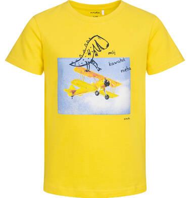 Endo - T-shirt z krótkim rękawem dla chłopca, z dinozaurem i samolotem, żółty, 9-13 lat C05G129_2 25