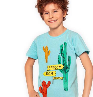 Endo - T-shirt z krótkim rękawem dla chłopca, z kaktusem, turkusowy, 2-8 lat C03G045_2