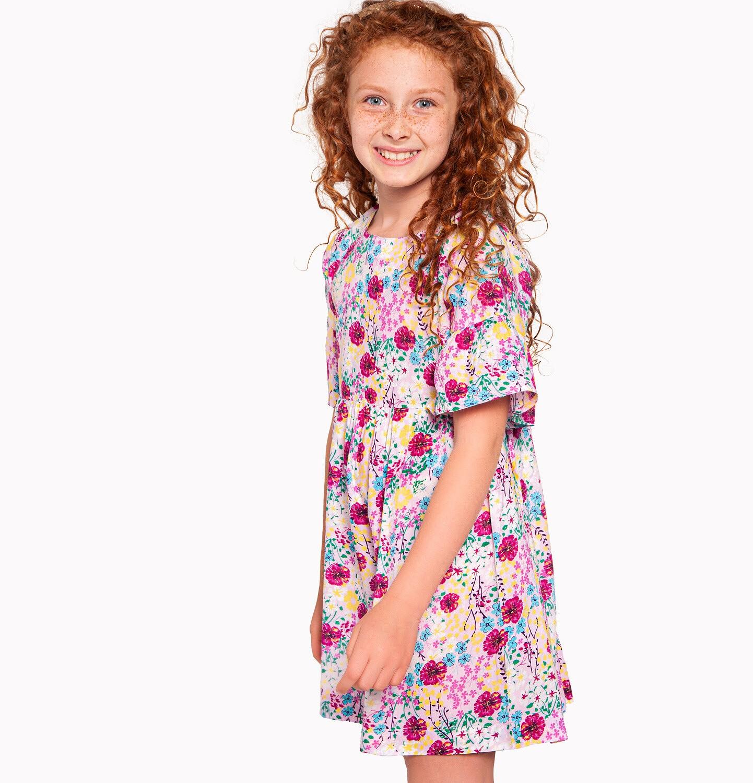 Endo - Sukienka w krótkim rękawem, deseń w kolorowe kwiaty, 9-13 lat D03H551_1