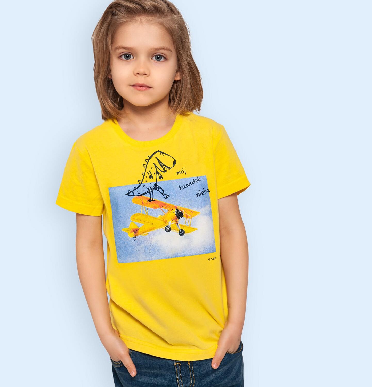 Endo - T-shirt z krótkim rękawem dla chłopca, z dinozaurem i samolotem, żółty, 2-8 lat C05G142_2