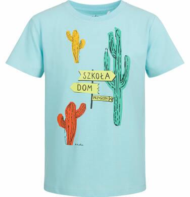 Endo - T-shirt z krótkim rękawem dla chłopca, z kaktusem, turkusowy, 9-13 lat C03G545_2