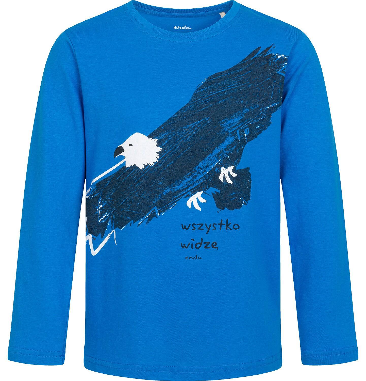 Endo - T-shirt z długim rękawem dla chłopca, z orłem, niebieski, 9-13 lat C04G202_1