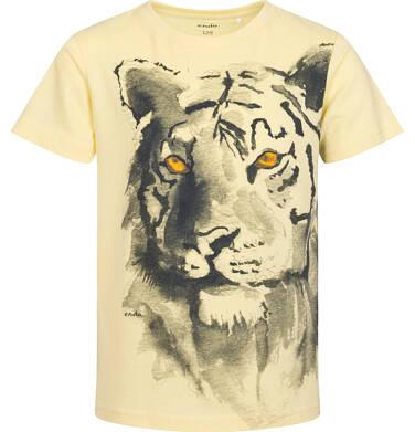 Endo - T-shirt z krótkim rękawem dla chłopca, z tygrysem, żółty, 9-13 lat C06G183_1 89
