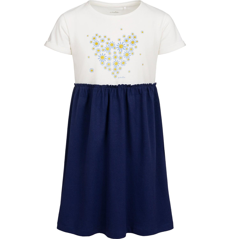 Endo - Dzersejowa sukienka z krótkim rękawem, jasna góra z sercem, granatowy dół, 2-8 lat D05H014_1