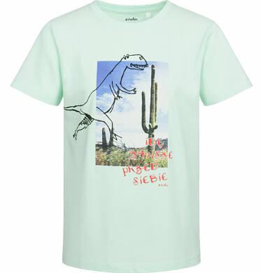 T-shirt z krótkim rękawem dla chłopca, z dinozaurem, idę zawsze przed siebie, niebieski, 2-8 lat C03G047_1