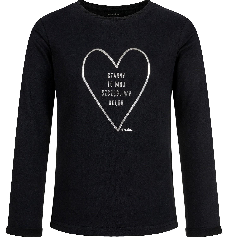 Endo - Bluzka z długim rękawem dla dziewczynki, z sercem, czarna, 9-13 lat D03G691_1