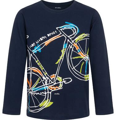T-shirt z długim rękawem dla chłopca, z rowerem, granatowy, 9-13 lat C04G203_1