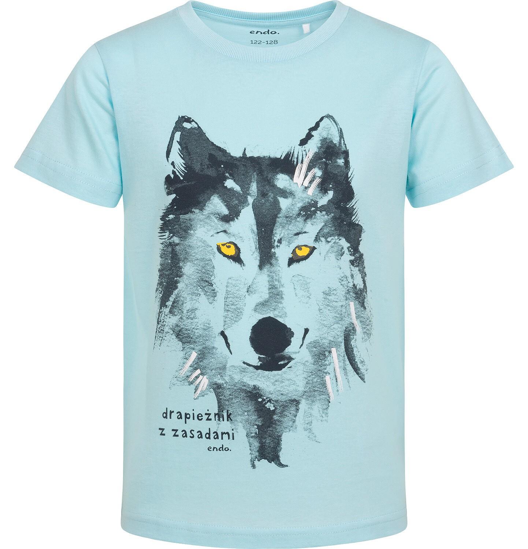Endo - T-shirt z krótkim rękawem dla chłopca, z wilkiem,niebieski, 2-8 lat C06G184_1