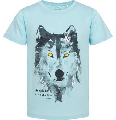 Endo - T-shirt z krótkim rękawem dla chłopca, z wilkiem,niebieski, 2-8 lat C06G184_1 18