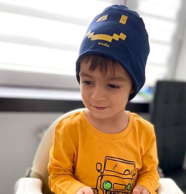 Endo - Czapka dla dziecka, z pixelami, granatowa C04R024_1 24