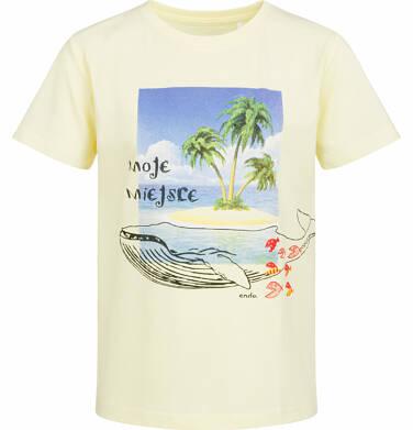 T-shirt z krótkim rękawem dla chłopca, z wielorybem, żółty, 2-8 lat C03G048_1