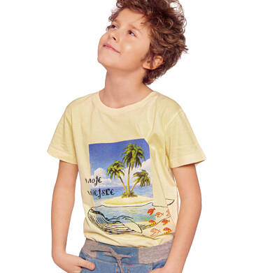 Endo - T-shirt z krótkim rękawem dla chłopca, z wielorybem, żółty, 2-8 lat C03G048_1