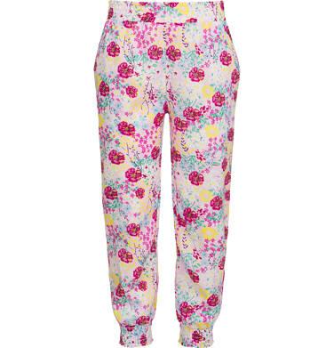 Endo - Kwieciste spodnie dla dziewczynki, luźny krój i ściągacze, 9-13 lat D03K547_1 6