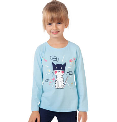 Endo - Bluzka z długim rękawem dla dziewczynki, z kotem, błękitna, 9-13 lat D03G693_1 38