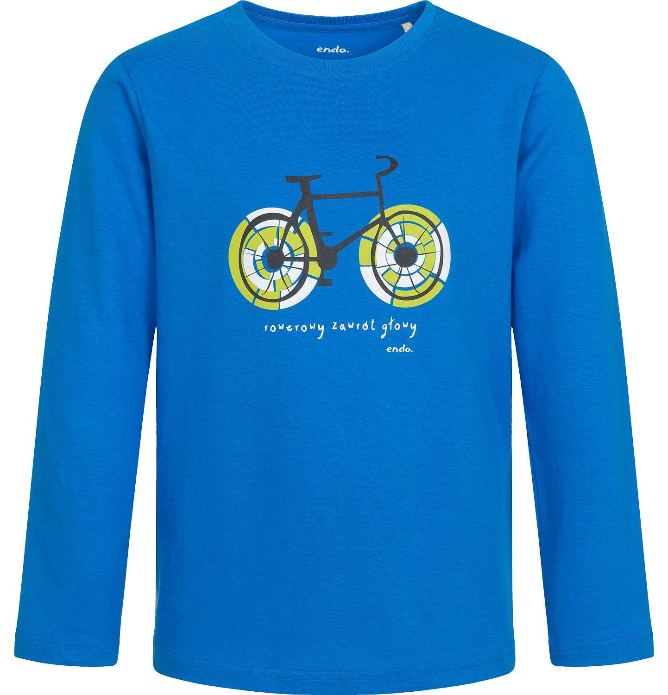 Endo - T-shirt z długim rękawem dla chłopca, z rowerem, niebieski, 9-13 lat C04G205_1