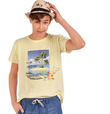 Endo - T-shirt z krótkim rękawem dla chłopca, z wielorybem, żółty, 9-13 lat C03G548_1