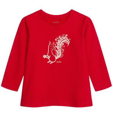 Bluzka z długim rękawem dla dziewczynki, z wiewiórką, czerwona, 2-8 lat D04G042_1