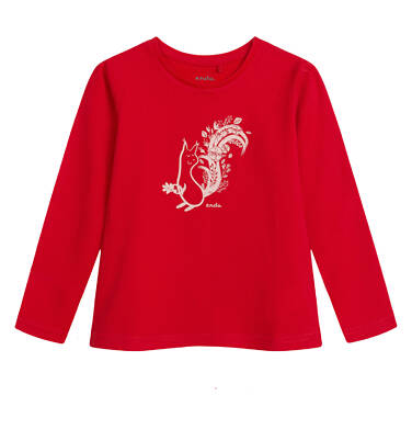 Endo - Bluzka z długim rękawem dla dziewczynki, z wiewiórką, czerwona, 2-8 lat D04G042_1 31