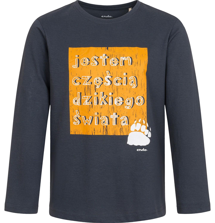 Endo - T-shirt z długim rękawem dla chłopca, z napisem, grafitowy, 9-13 lat C04G208_1